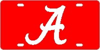 Alabama Script A Red-Silver License Plate