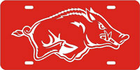 Arkansas-Hog-Red-Silver License Plate
