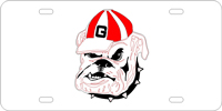 George, University of - Bulldog Face Silver-Red-Black License Plate