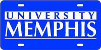 University Memphis Laser Cut License Plate