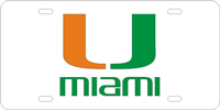 123012 Miami, University of - U Miami Silver-Green-Orange License Plat