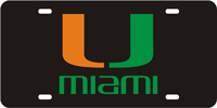 123043 Miami, University of - U Miami Black-Green-Orange License Plate