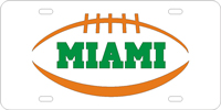 123319 Miami, University of - Miami Pigskin Silver-Orange License Plate