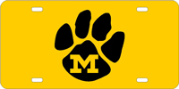 128017 Missouri University - M Paw Amber-Black License Plate