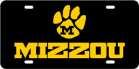128031 Missouri University - MIZZOU Paw Black-Amber License Plate