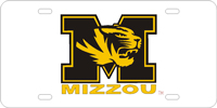 128055 Missouri University - M Tiger MIZZOU Silver-Black-Gold License Plate