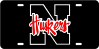 Nebraska, University of - N Huskers Black-Silver-Red License Plate