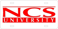 135053 North Carolina State - NCS University Silver-Red License Plate
