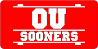 Oklahoma University - OU Sooners Bars Red-Silver License Plate